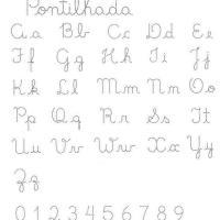 Alfabeto pontilhado e numerais pontilhados - exercícios de Caligrafia